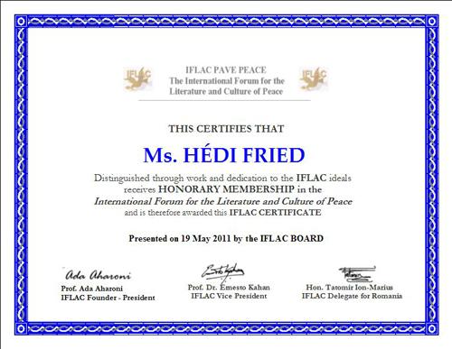 Honorary IFLAC Membership to Hedi Fried