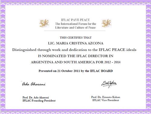 IFLAC Certificate to Maria Azcona