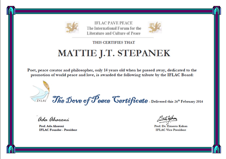 IFLAC Dove of Peace Certificate for Mattie J.T. Stepanek