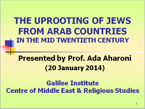 PowerPoint presentation on the Jewish Refugees from Arab Countries