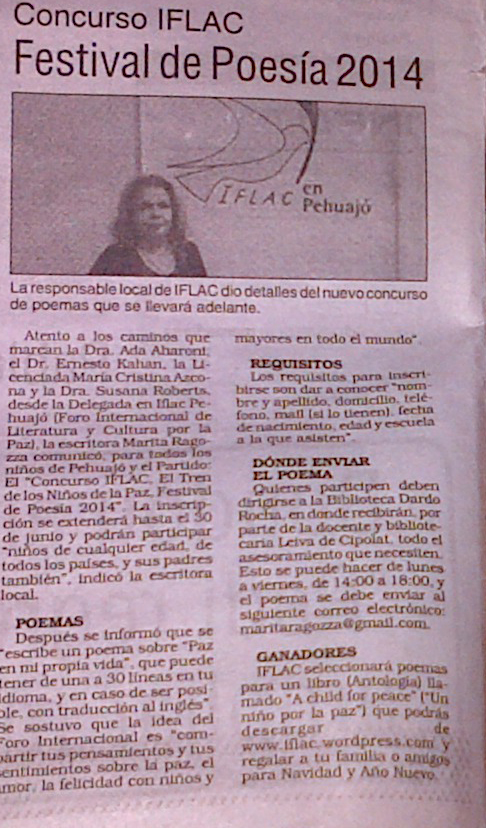 Argentinian news article about the IFLAC Children's Peace Train Poetry Contest